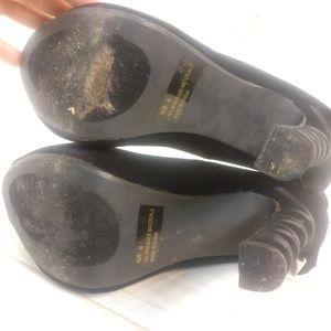 Charlotte Russe Shoes - Charlotte Russe Black Velvet Ribbon Bow High Heels